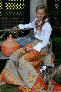 Barb's daughter, Susannah, wearing the work of talented global artisans